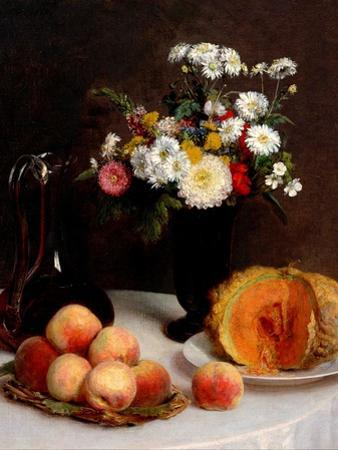 Still Life With Decanter, Flowers And Fruits by Henri Fantin-Latour
