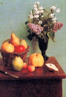 Henri Fantin-Latour Still Life with Flowers and Fruits Art Print Poster