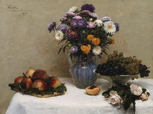 White Roses and Chrysanthemums in a Vase -Peaches and Grapes on a Table with a White Tablecloth;… by Henri Fantin-Latour