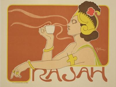 """Reproduction of a Poster Advertising the """"Cafe Rajah,"""" 1897"""