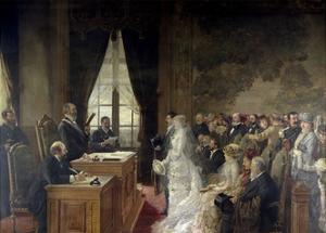 Civil Marriage of Son of Mathurin Moreau Mayor of Paris' 19th Arrondissement, 1884 by Henri Gervex