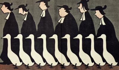 """The Geese, Anti-Clerical Caricature from """"L'Assiette au Beurre"""", 17th May 1902"""