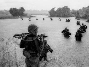 Vietnam War Paratroopers Rain by Henri Huet