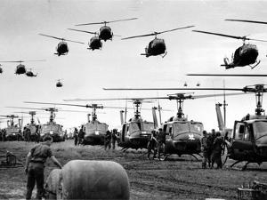 Vietnam War U.S. Helicopters Gas by Henri Huet