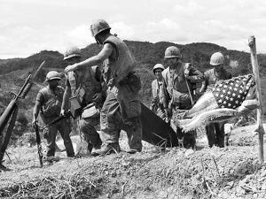 Vietnam War U.S. Marine Casualty by Henri Huet