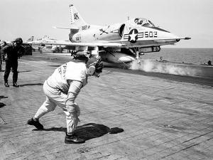 Vietnam War USS Intrepid Skyhawk by Henri Huet