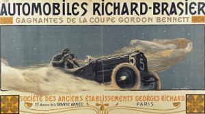 Poster Showing Automobiles Richard-Brasier Winning the Gordon Bennett Cup, 1904 by Henri Jules Ferdinand Bellery-defonaines