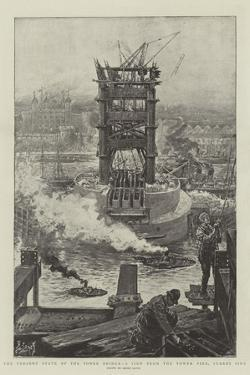The Present State of the Tower Bridge, a View from the Tower Pier, Surrey Side by Henri Lanos