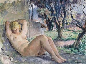 Nude Lying in a Garden, C.1934 by Henri Lebasque