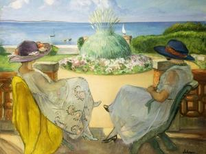 Two Young Women on a Terrace by the Sea, 1922 by Henri Lebasque