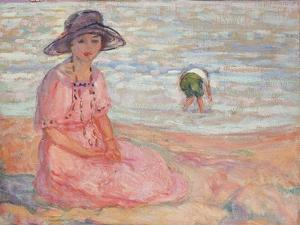 Woman in the Pink Dress by the Sea; Femme a La Robe Rose Au Bord De La Mer, C.1920 by Henri Lebasque