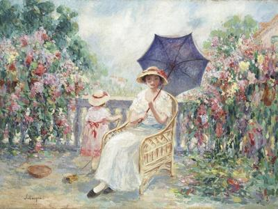 Young Girl and Child on a Terrace, 1914-15
