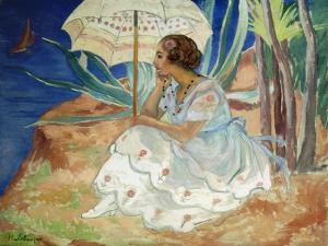 Young woman with an Umbrella, Saint Maxime by Henri Lebasque
