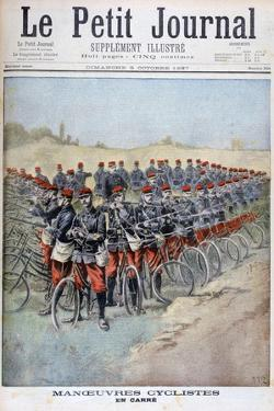 French Army Bicycle Corps in a Square on Manoeuvres, France, 1897 by Henri Meyer