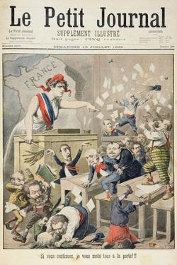 Title Page Depicting a Ruckus in the House of Deputies from the Illustrated Supplement of Le Petit by Henri Meyer