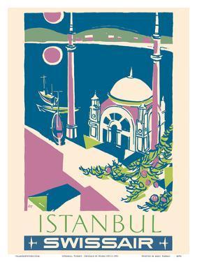 Istanbul, Turkey - Swissair - Ortakoy Mosque by Henri Ott