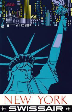 New York - Statue of Liberty - Swissair by Henri Ott