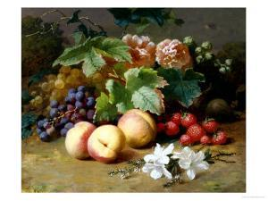 Still Life with Flowers and Fruit by Henri Robbe