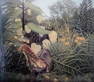 The Jungle, Tiger Attacking a Buffalo by Henri Rousseau