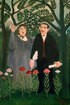 The Muse inspires the poet, 1909. by Henri Rousseau
