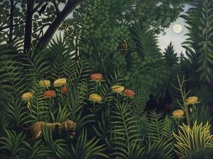Urwald Mit Tiger Und Jaegern, um 1907 by Henri Rousseau