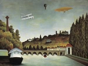 View of the Sévres Bridge and the Hills of Clamart, Saint-Cloud and Bellevue, 1908 by Henri Rousseau