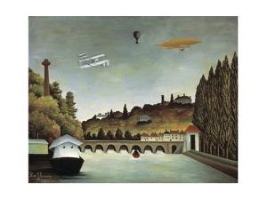 View of the Sévres Bridge and the Hills of Clamart, Saint-Cloud and Bellevue, 1908 by Henri Rousseau