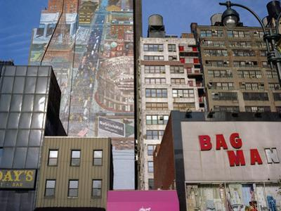 34Th Street, NYC Building Facades - Faded Murals, Old Signs by Henri Silberman