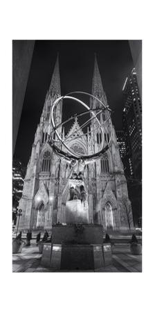 Atlas Statue St. Patrick's Cathedral Night Panorama by Henri Silberman