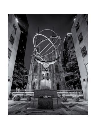 Atlas Statue St. Patrick's Cathedral Night by Henri Silberman