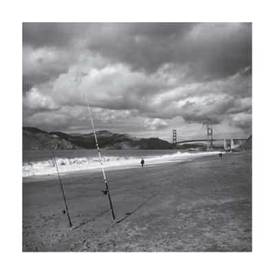 Baker Beach Fishing Rods Golden Gate Bridge by Henri Silberman