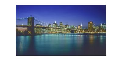 Brooklyn Bridge and Lower Manhattan at Night - New York City Iconic Structure Landmarks by Henri Silberman