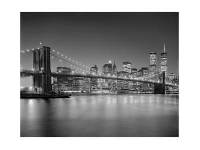 Brooklyn Bridge at Night 1 - New York City Landmarks by Henri Silberman
