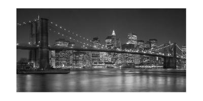 Brooklyn Bridge at Night, Panorama 1 - New York City Skyline at Night