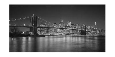 Brooklyn Bridge at Night, Panorama 2 - New York City Skyline at Night