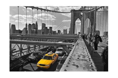 Brooklyn Bridge with Yellow Cab 2 - New York City Icon