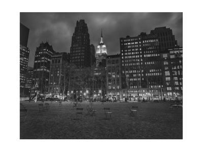 Byrant Park Dusk - Looking South in Bryant Park Manhattan by Henri Silberman