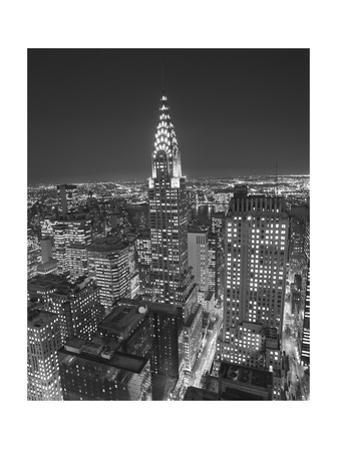 Chrysler Building at Night, East View - New York City Iconic Building, Top View by Henri Silberman
