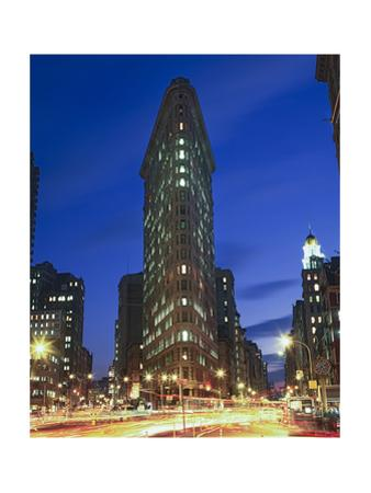 Flat Iron Building at Night 2 - New York City Landmark Street View by Henri Silberman