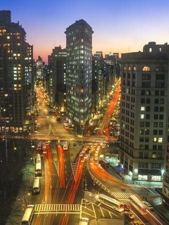 Flat Iron Building With Broadway and Fifth Avenu, Wide Angle - New York City Landmark Aerial View by Henri Silberman
