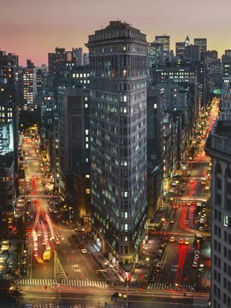Flat Iron Building With Broadway and Fifth Avenue Dusk - New York City Landmarks Aerial View by Henri Silberman