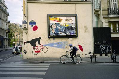 French Umbrella Biker, Paris by Henri Silberman