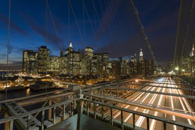 Lower Manhattan from the Brooklyn Bridge 3 (New York City at Night) by Henri Silberman