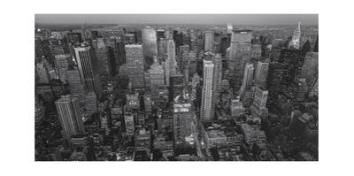 Manhattan, North View, Evening Panorama - New York City at Night by Henri Silberman