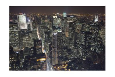 Manhattan North View, Night 2 - New York City Top View by Henri Silberman
