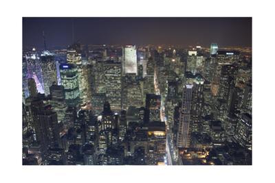 Manhattan North View, Night - New York City Top View by Henri Silberman