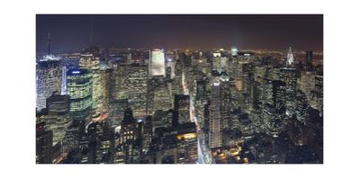 Manhattan North View, Night Panorama 2 - New York City Top View by Henri Silberman