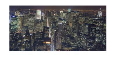 Manhattan North View, Night Panorama 3 - New York City Top View