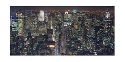 Manhattan North View, Night Panorama 3 - New York City Top View by Henri Silberman