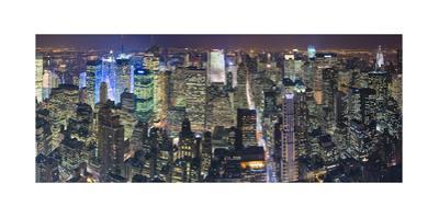Manhattan North View, Night Panorama - New York City Top View by Henri Silberman